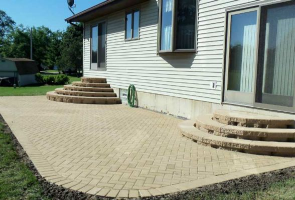 Not the stairs in this new patio hardscape